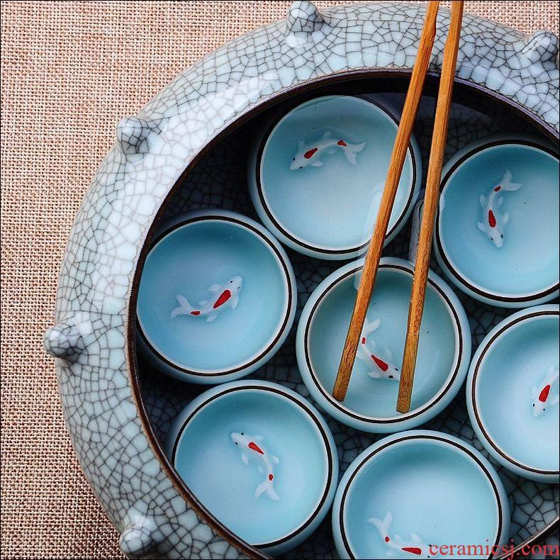 Qiao mu JS longquan celadon calving boutique tea tea wash to wash your sample tea cup ice crack glaze large tea cup