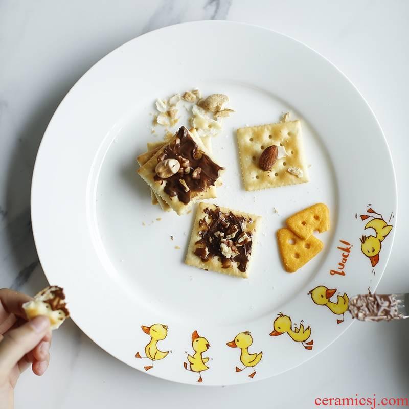 Qiao mu LH express little yellow duck - 10 inch ipads porcelain ceramic flat plate steak disc breakfast salad plate