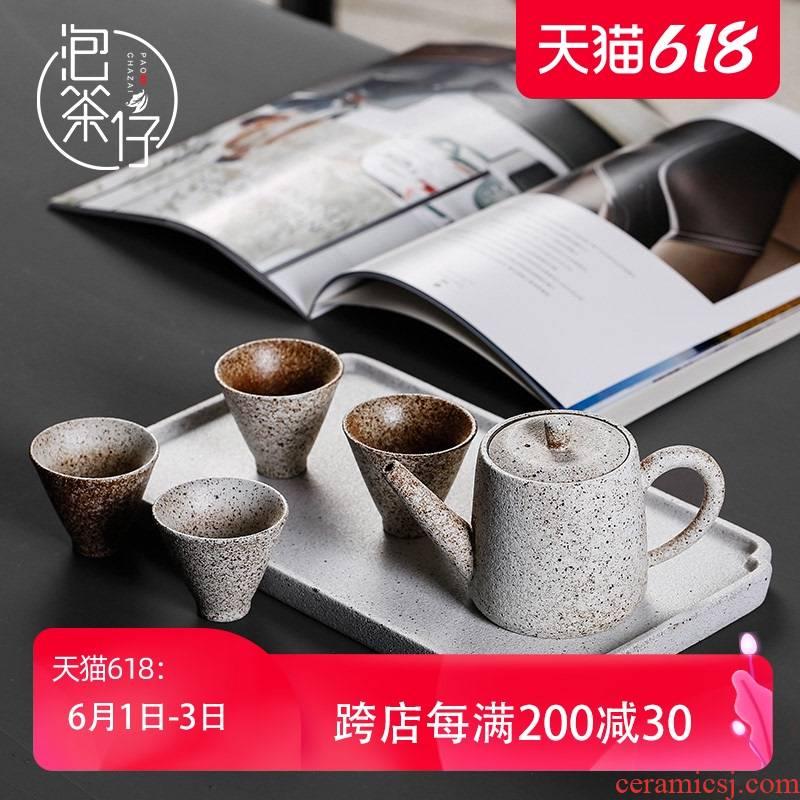 Japanese black pottery a pot of tea kungfu tea set four cups of household ceramics teapot teacup suit small set of simple restoring ancient ways