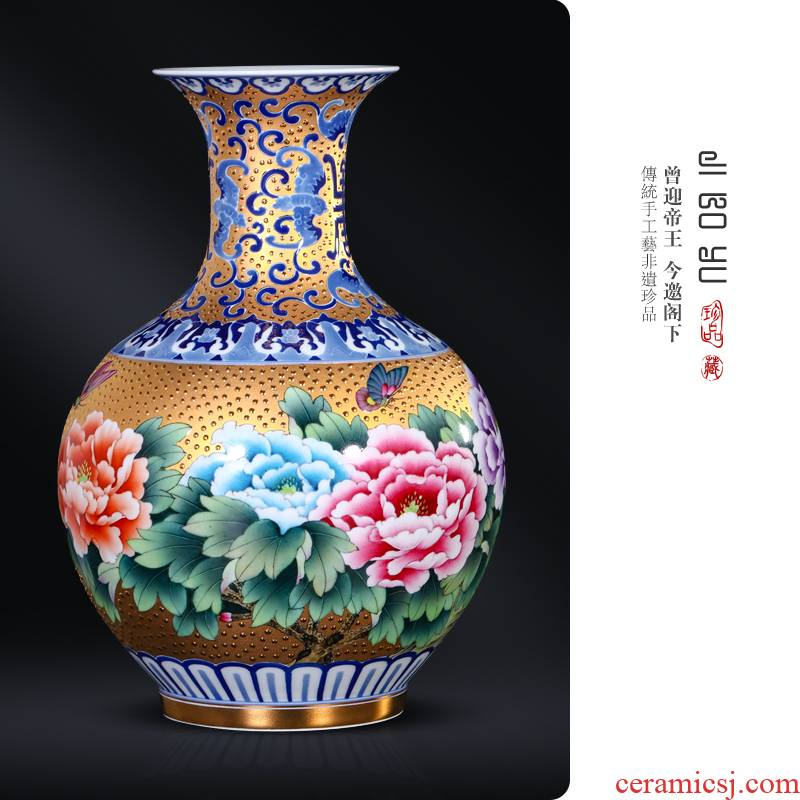 Jingdezhen ceramics hand - made gold peony vases, new Chinese style living room TV ark, flower arranging porch is decorated furnishing articles