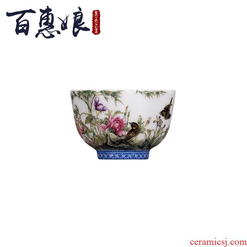 (niang jingdezhen porcelain hand - made colored enamel painting of flowers and all hand sample tea cup kung fu tea set