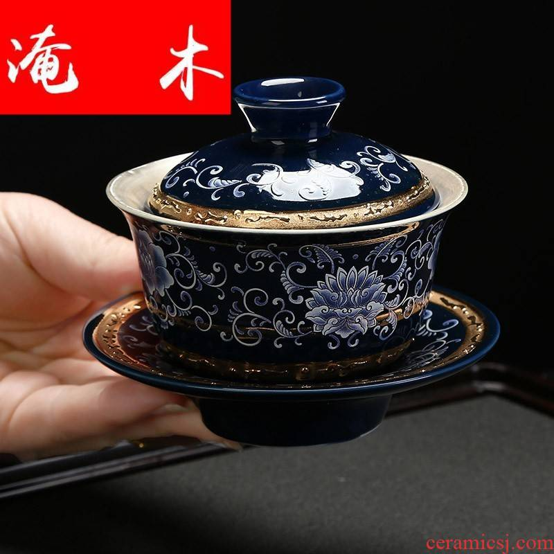 Submerged wood jingdezhen silver tea set 999 thickening kung fu tureen coppering. As silver cup bowl of blue and white gold ceramic tea set interface