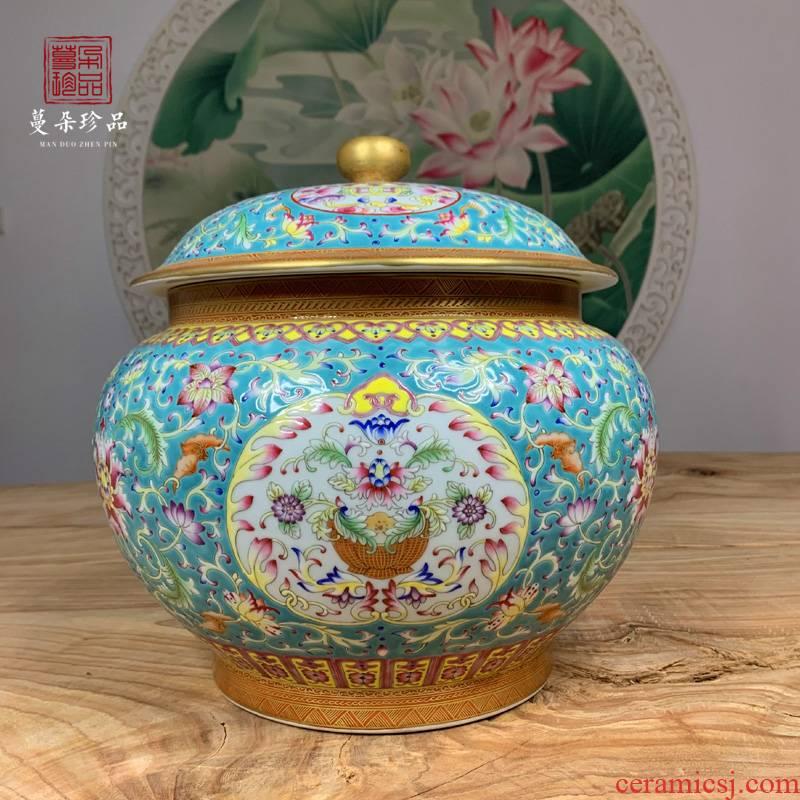 Jingdezhen hand - made pastel flowers cover pot of fine ceramic tea pot imitation up enameled flat cover tank