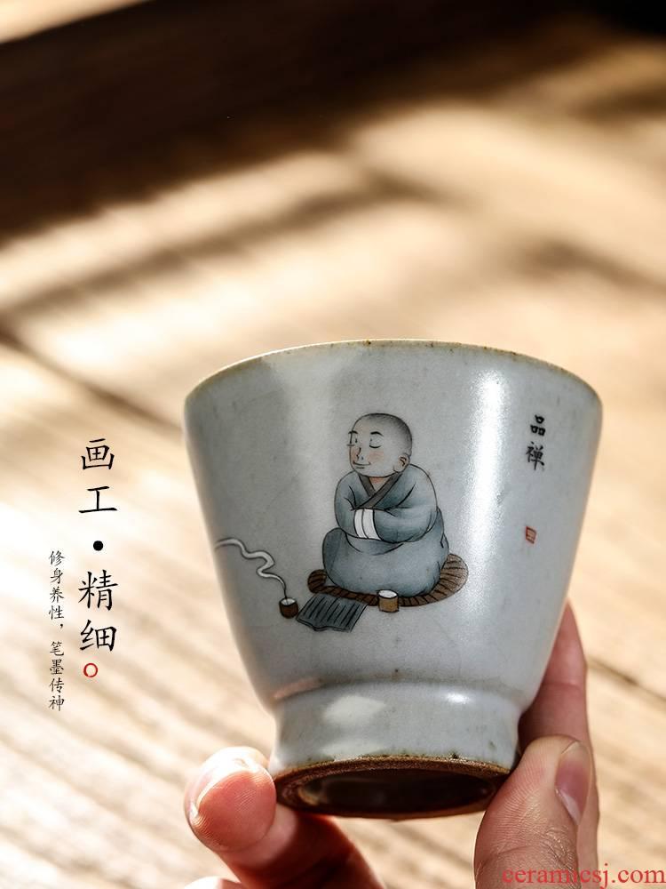 Ru up market metrix who cup single CPU kung fu tea cups jingdezhen checking sample tea cup single hand - drawn characters zen tea set