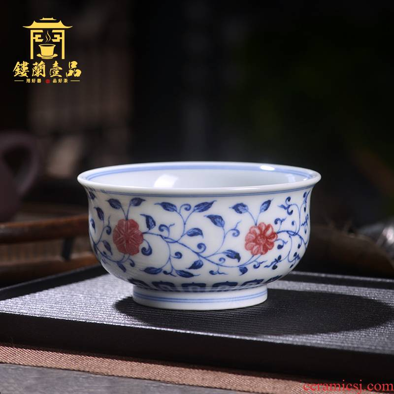 Jingdezhen ceramic blue and white youligong tangled branches all hand - made master of kung fu tea set sample tea cup make tea cup
