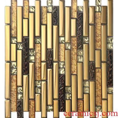 Mirror glass Mosaic strip European TV setting wall stick post bar sitting room decorates porch ceramic tile is 0
