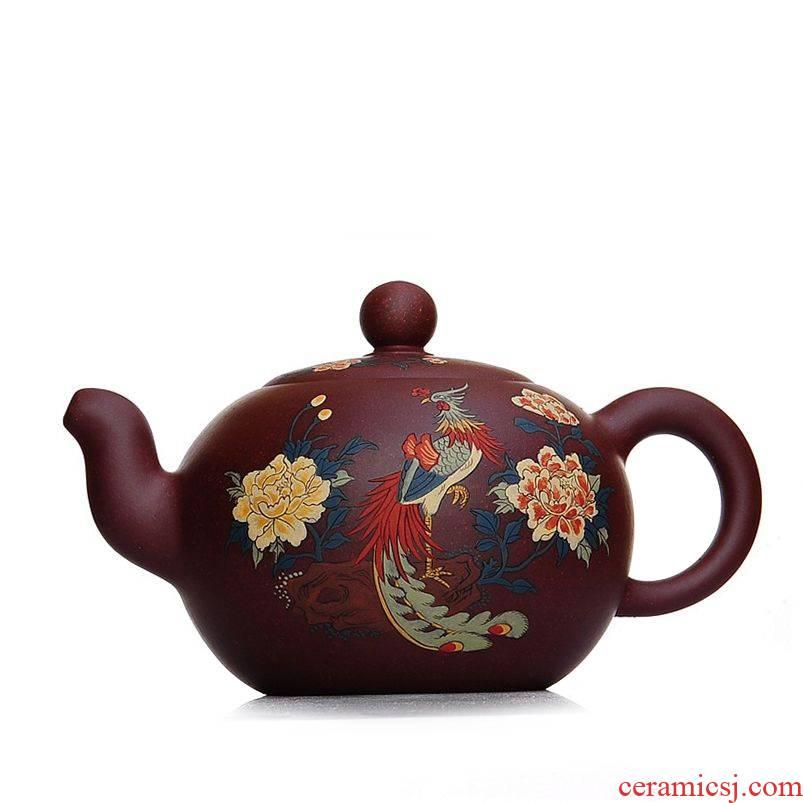 Qiao mu JS yixing undressed ore make violet arenaceous all manual it fine engraving xi shi pot of tea set gift teapot