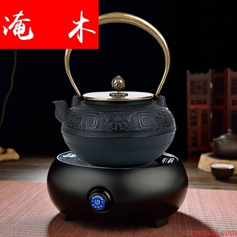Flooded wooden craft brother iron pot of tea without coating pot of southern cooking big iron pot of iron electric kettle TaoLu tea sets