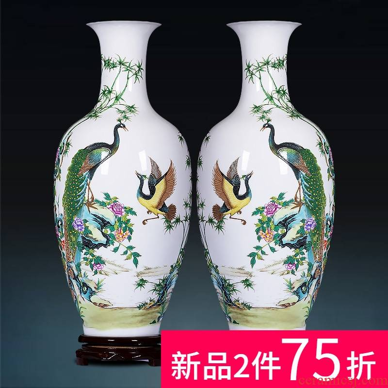 Jingdezhen ceramics powder enamel peacock vase for bottles of Chinese style household adornment flower arranging handicraft furnishing articles sitting room