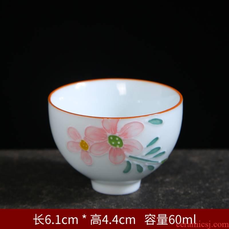 Purple sand pottery and porcelain single hand made blue and white porcelain teacup kung fu master sample tea cup tea tea cup glass bowl