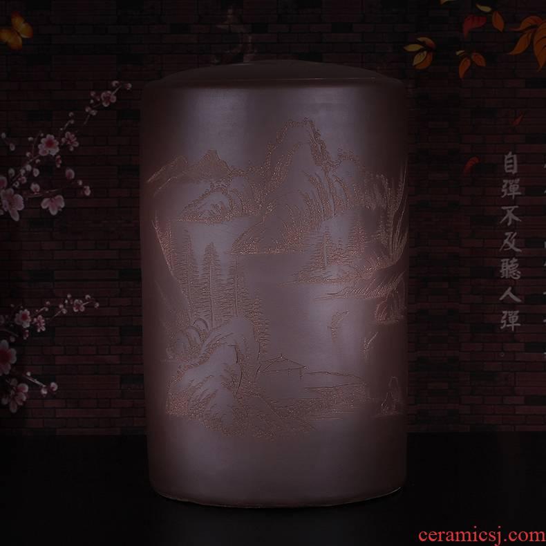 Qiao mu JS yixing purple sand tea caddy fixings cylinder coarse TaoCun receives large tea barrel shengchan dui