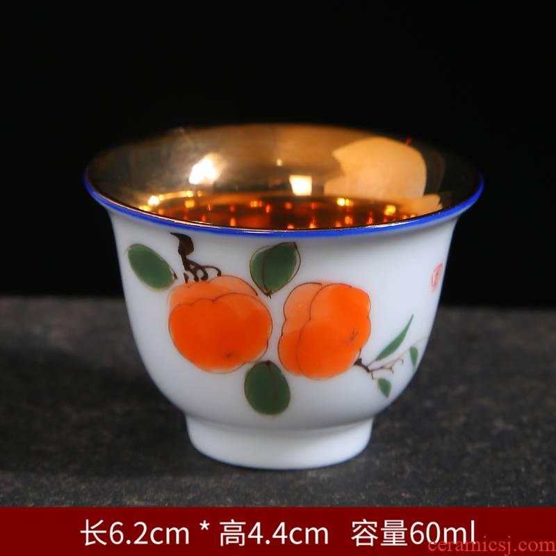 Gold hand - made teacup household sample tea cup ceramic masters cup blue and white porcelain tea light household kung fu tea set