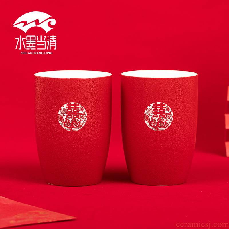I xi cup suit large red tea glass ceramic wedding wedding home picking wedding Chinese style