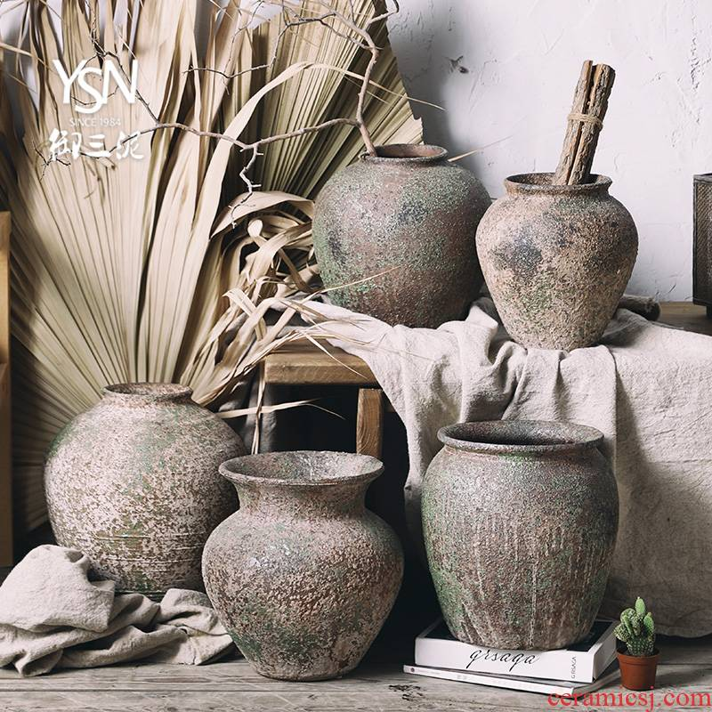 Three clay coarse pottery flower POTS do old royal wabi-sabi wind restoring ancient ways vantage earthenware flowerpot gardening plant decorative furnishing articles