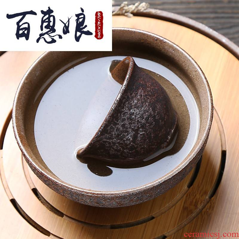 (niang coarse pottery tea wash to wash to ceramic trumpet hydroponic plant pot rust glaze cup kung fu tea set