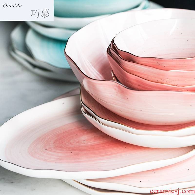 Qiao longed for creative household ceramics tableware rice bowl LIDS, up phnom penh western - style food tableware salad bowl bowl dish dish plate