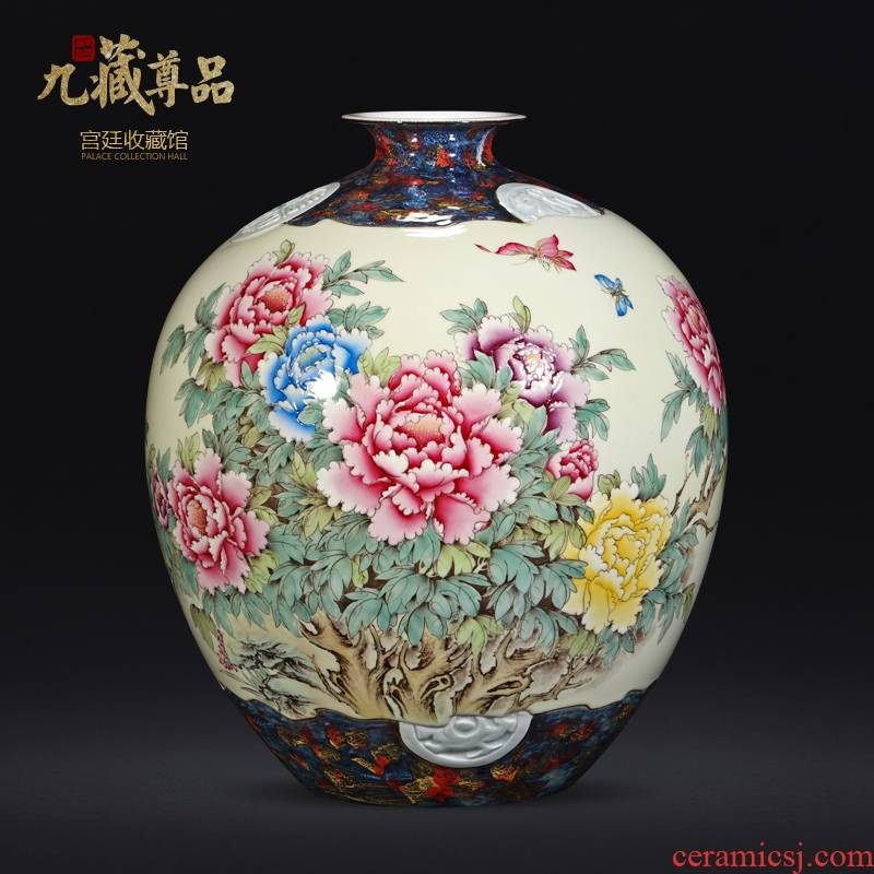 About Nine sect hand - made famille rose blooming flowers vase statute of the product of jingdezhen ceramics Chinese style living room TV ark, flower arranging furnishing articles