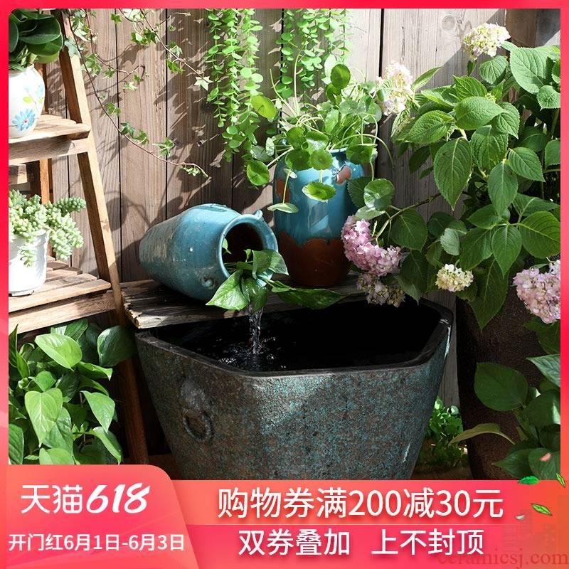 Jingdezhen ceramic extra large aquarium fish basin water lily lotus old flowers cylinder tank yard sitting room adornment