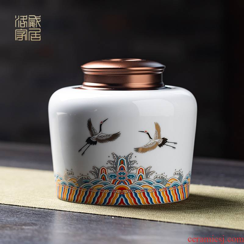 The tea pot seal pot metal ceramic dual cover seal the self - priming cover hidden moistureproof household receives tea storehouse