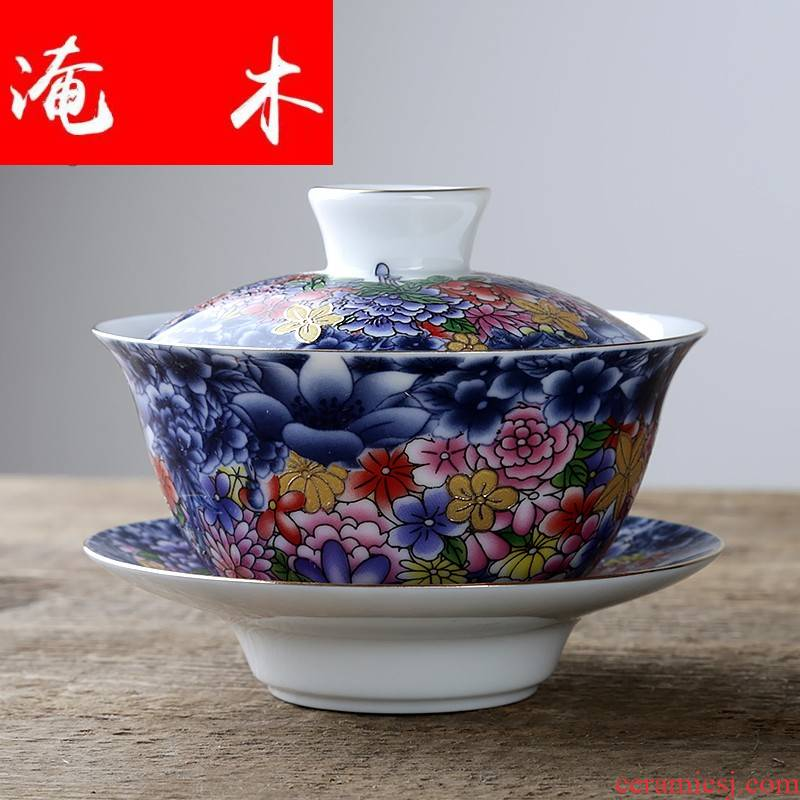 Flooded tureen wooden household ceramic white porcelain kung fu tea set three medium cup tea bowl to bowl of jingdezhen checking enamel