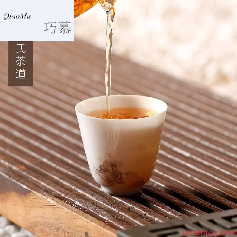 Qiao mu SU jingdezhen porcelain kung fu tea tea jade personal cup single CPU master cup cup gift boxes