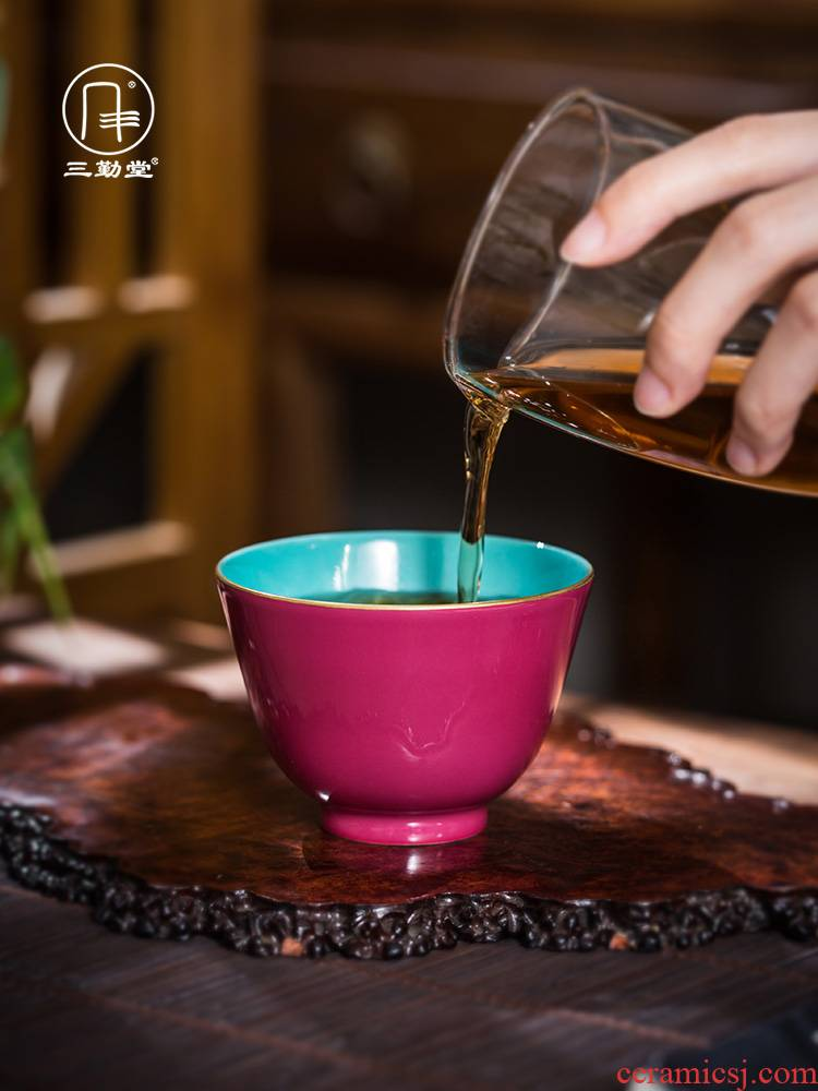 The three frequently cup with a senior Chinese tea master cup single CPU jingdezhen ceramic kung fu tea S41007