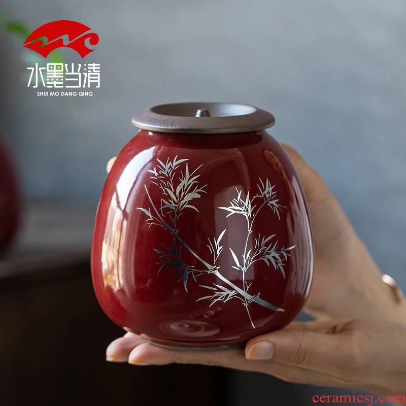 Caddy fixings ceramic seal tank household moistureproof creative move fashion gift boxes of large tea storage tanks