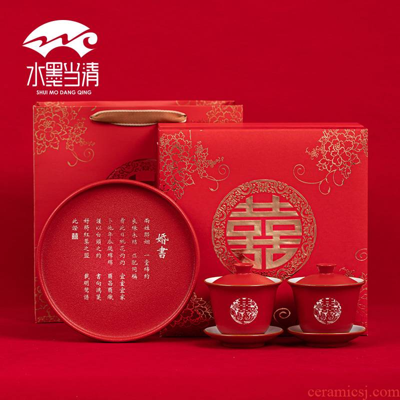 Red tureen worship cup tea tray to Mary a Chinese wedding suit wedding ceramic bowl three cups