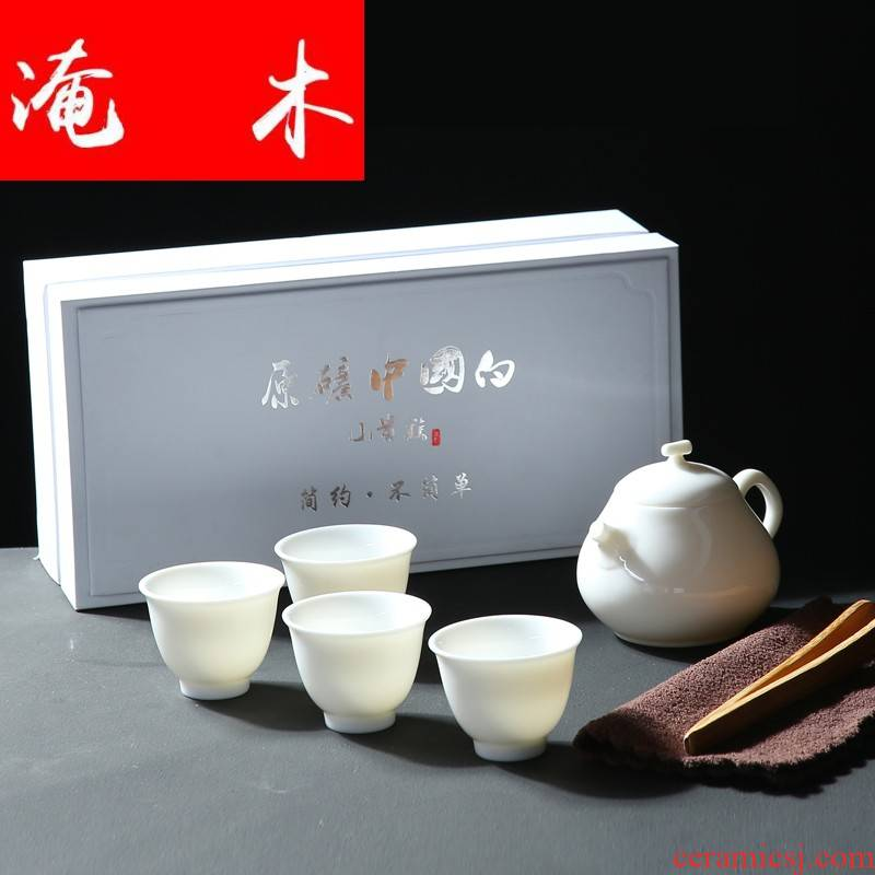 Submerged wood Chinese white jade porcelain pure manual white porcelain tureen large three cups to use kung fu tea set, ceramic