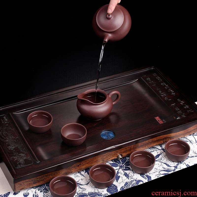 Qiao mu JS yixing it famous old purple debris by hand gourd ladle pot of xi shi pan, pot of antique teapot tea set