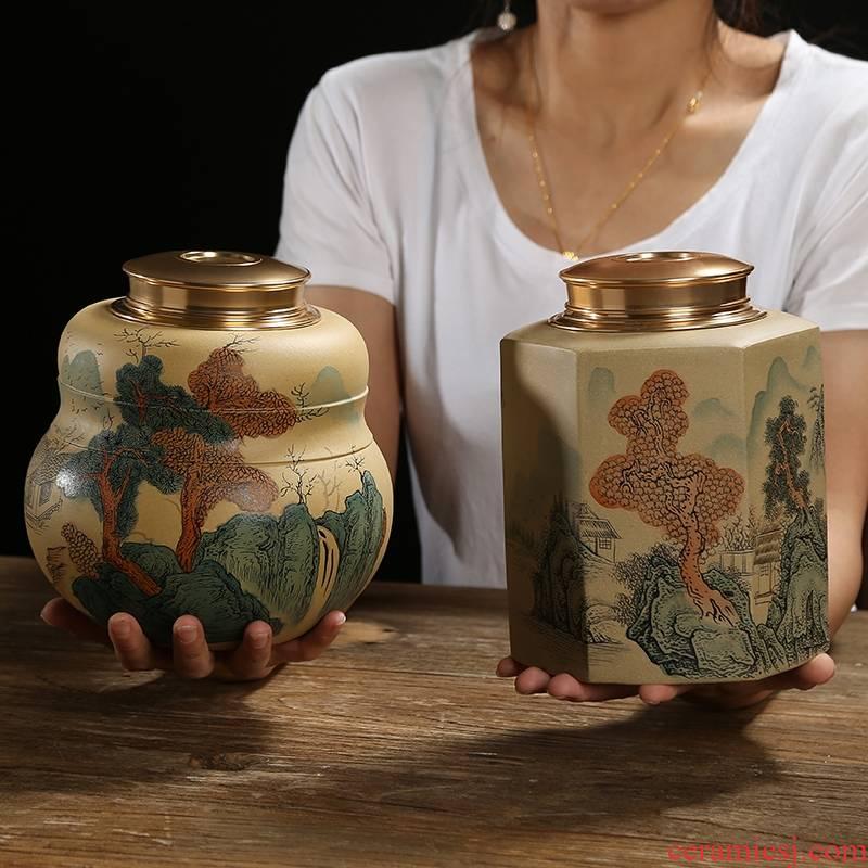 Qiao mu JS yixing purple sand tea pot seal pot jingdezhen made tea cylinder storage POTS and POTS
