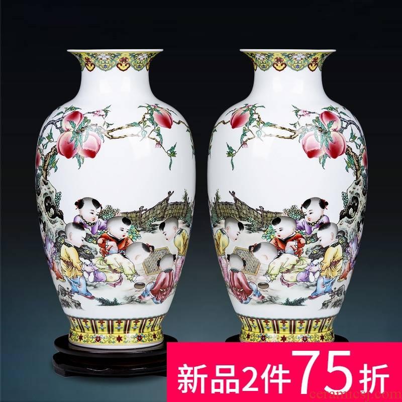 Jingdezhen ceramics powder enamel vase for bottle home decoration flower arranging rich ancient frame handicraft decoration furnishing articles to the living room