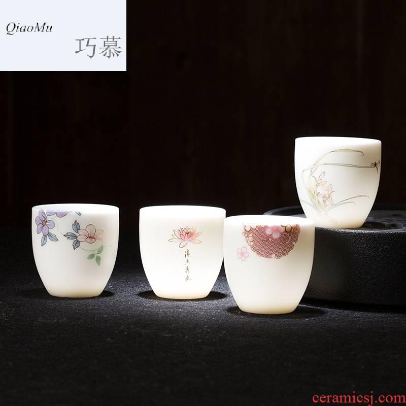 Qiao mu CMJ kaolin jade jingdezhen porcelain personal single cup white porcelain sample tea cup tea master, ceramic cups