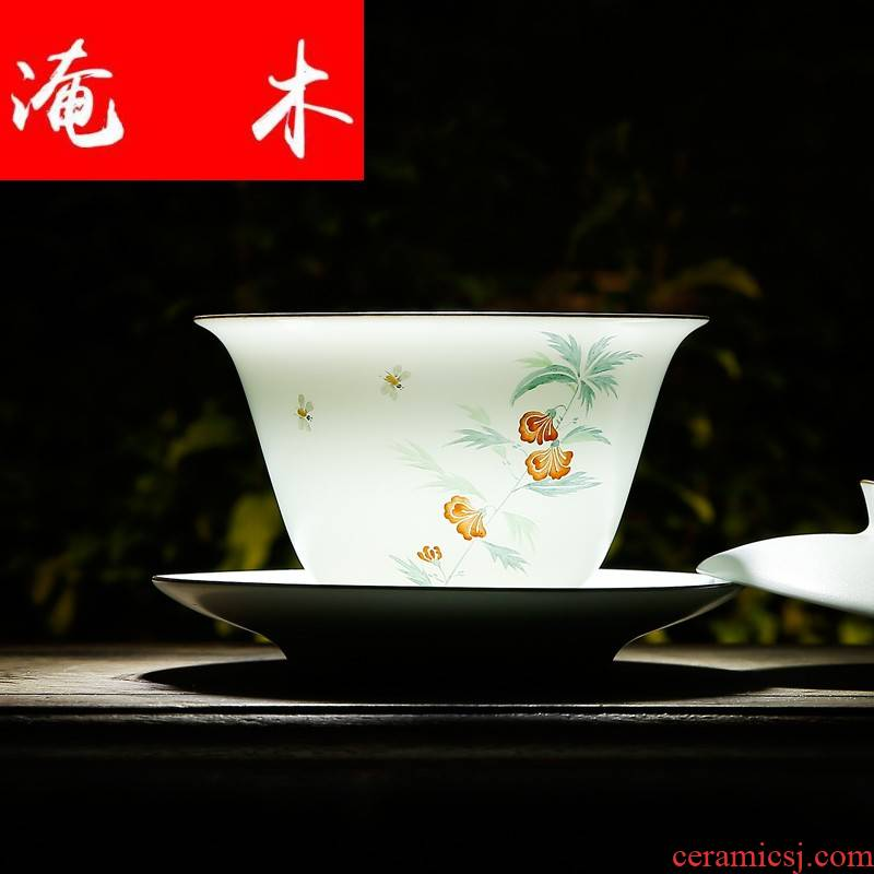 Flooded wooden ancient imperial tea cups tureen jingdezhen ceramic tea bowl hand - made pastel celadon matte enrolled white three bowls