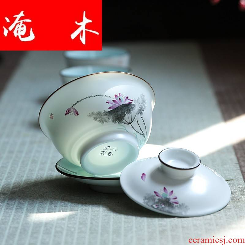 Flooded wooden ancient imperial tureen large jingdezhen ceramic cups kung fu tea tea, hand - made famille rose only three cups