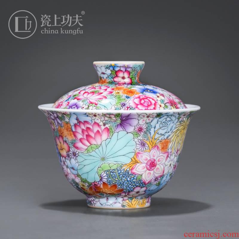 Colored enamel than spend tureen hand - made ceramic 2 to make tea bowl small getting high - grade jingdezhen tea orphan works, jack