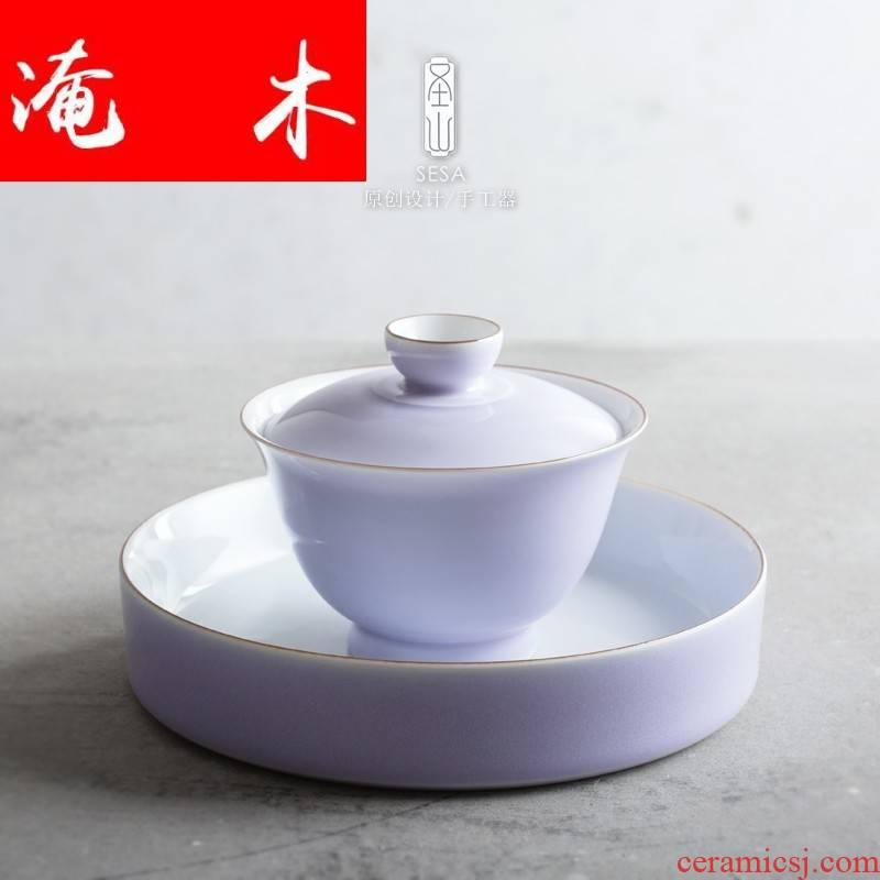 Submerged wood purple xia tureen jingdezhen ceramics by hand the whole suit kung fu tea tea bowl of tea cups
