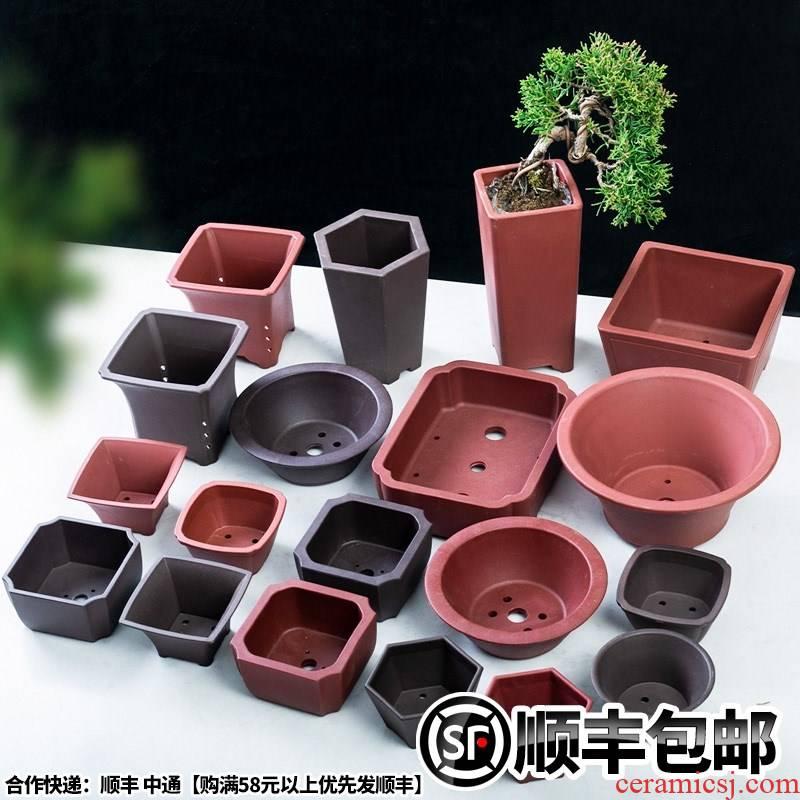 Bonsai POTS imitation purple rectangle, square, hexagonal resin plastic quality flower pot in large circular Bonsai pot