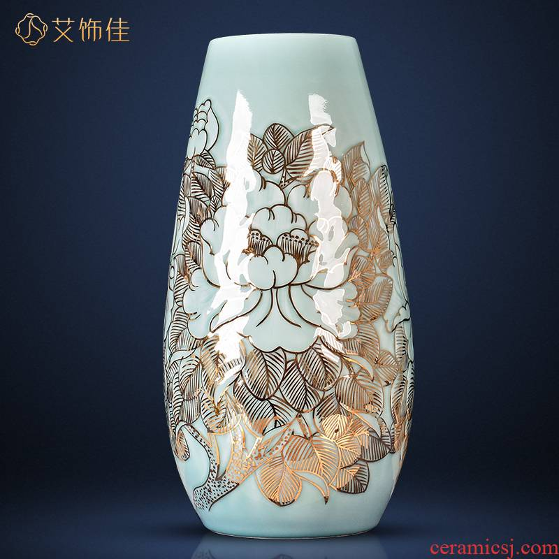 Jingdezhen ceramics green light glaze new Chinese style key-2 luxury fuels the vase rich ancient frame furnishing articles master hand draw large living room