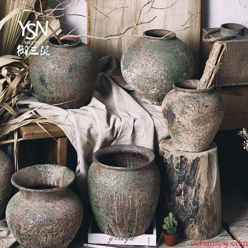Royal three clay flowerpots gardening plant decorative furnishing articles coarse pottery flower POTS do old wabi-sabi vantage earthenware wind restoring ancient ways