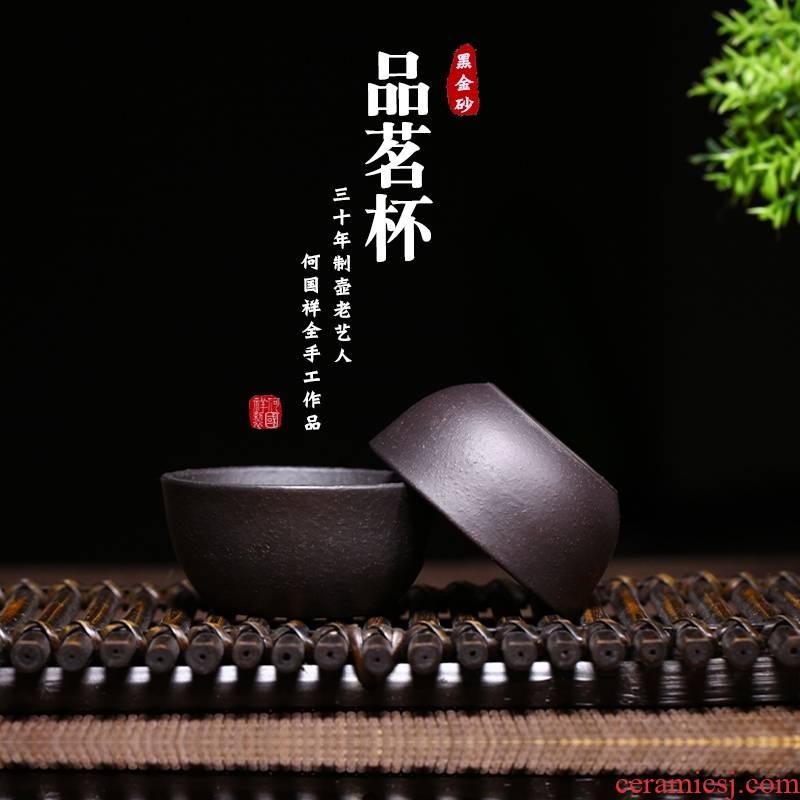 Qiao mu YM yixing undressed ore to small purple sand tea koubei hand - made tea zero with black gold sand koubei