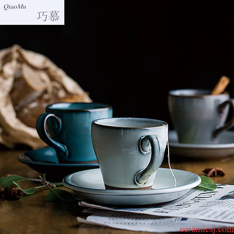Qiao mu Japanese ceramic coffee cups and saucers suit coarse ceramic keller cup restoring ancient ways of milk a cup of tea in the afternoon