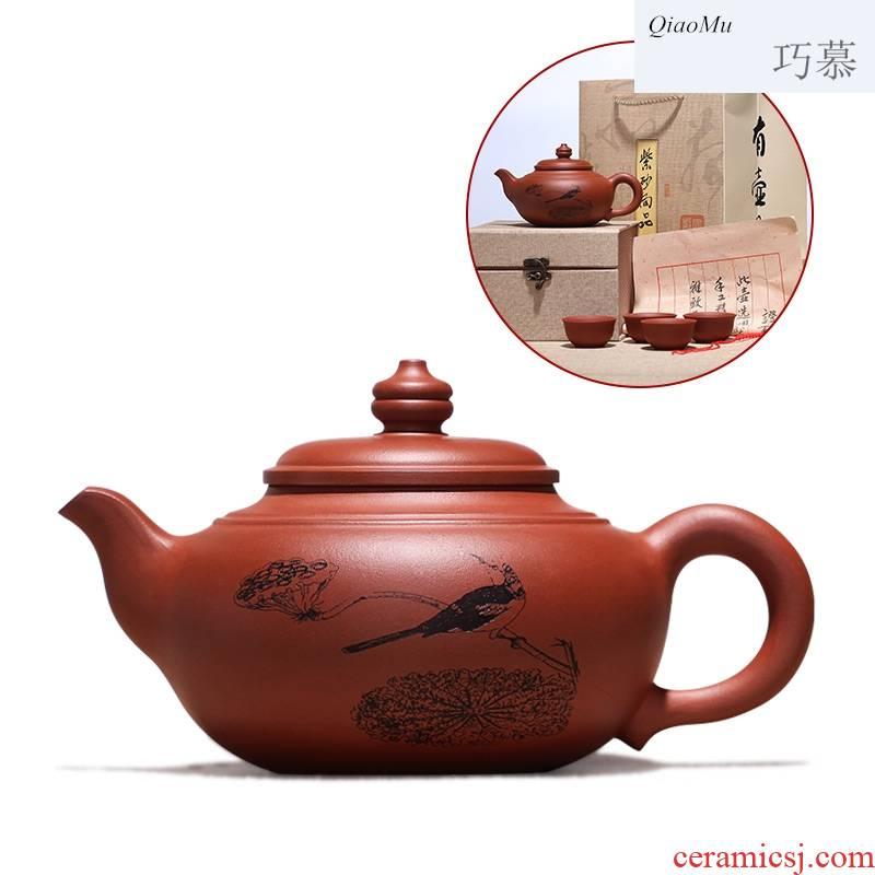 Qiao mu, yixing it suit pure hand carved tea made purple clay teapot tea home is pot