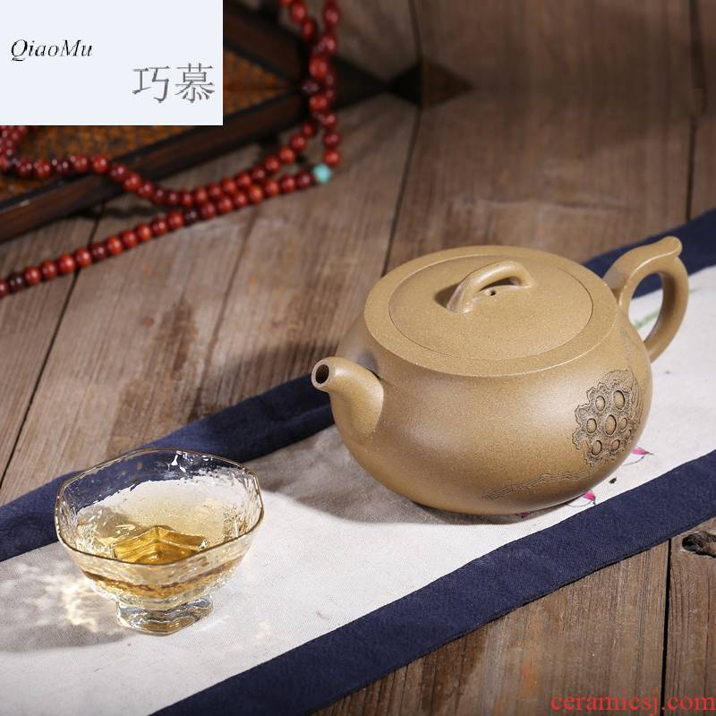 Qiao mu HM yixing undressed ore it all hand famous collection office period of mud lotus seed pot teapot tea set