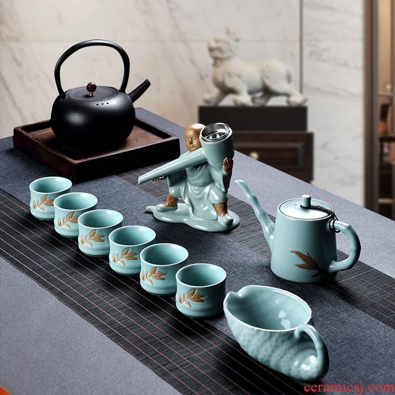 Hongying your up creative ice crack kung fu tea set suit household jingdezhen ceramic teapot teacup zen Chinese style