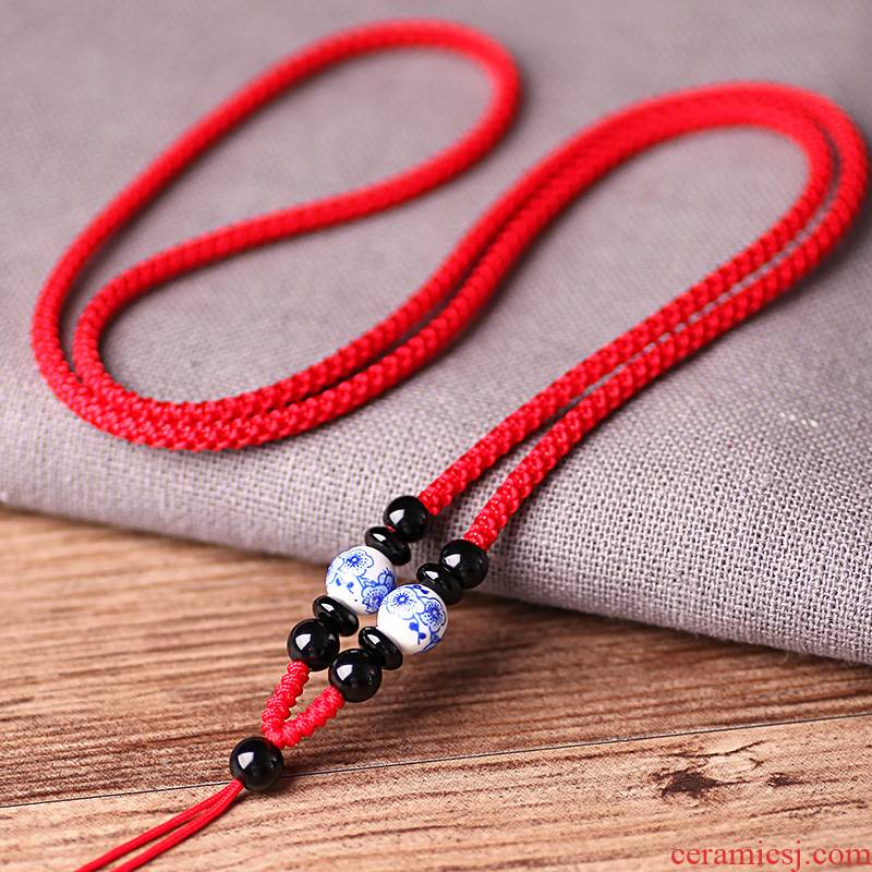 Ceramic name plum flower round pearl pendant hang rope men and women with jade and hang hang drop pendant neck rope rope hand woven necklace