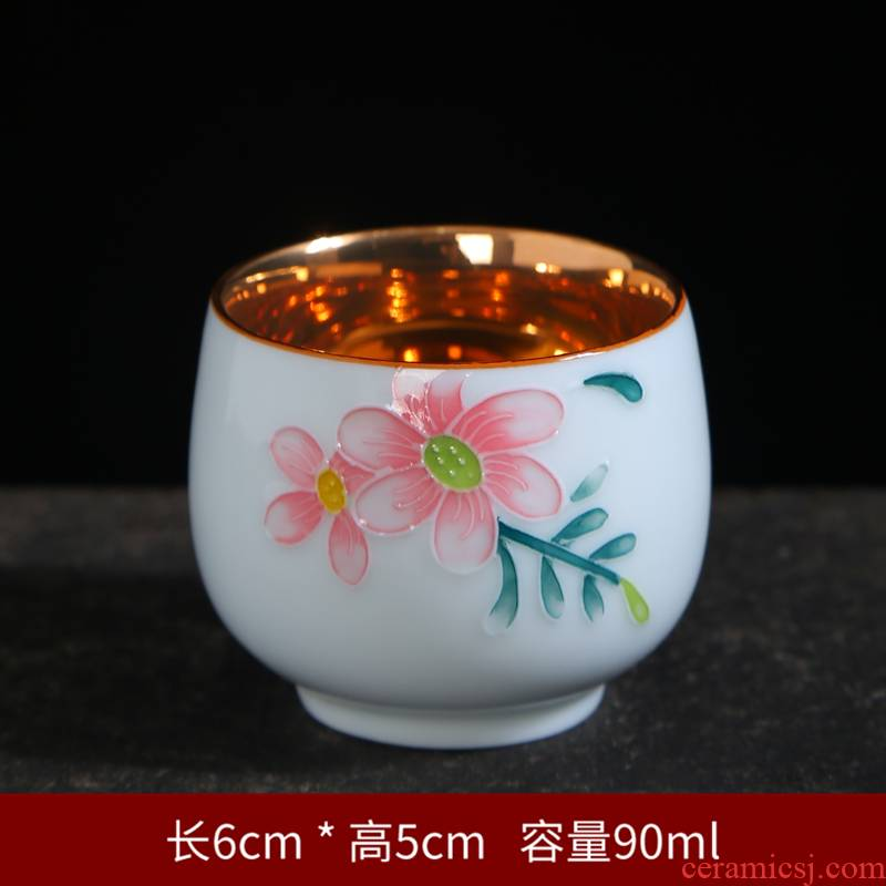 Hand - made ceramic kung fu tea cups personal master cup household porcelain sample tea cup cup of a single small tea tea bowl