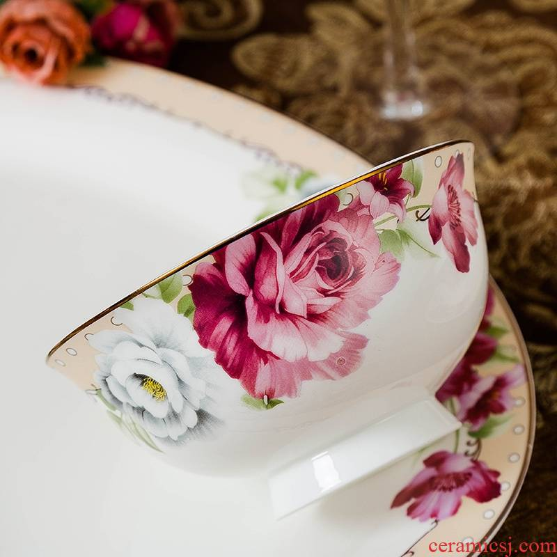 Qiao mu jingdezhen ceramics tableware suit dishes suit household ipads bowls to eat to use microwave dishes