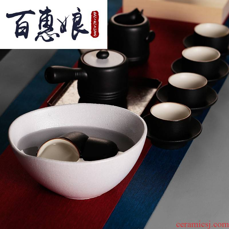 (niang tea accessories, black pottery coarse pottery tea wash water, after the Japanese zen ceramic household large heavy retro imitation