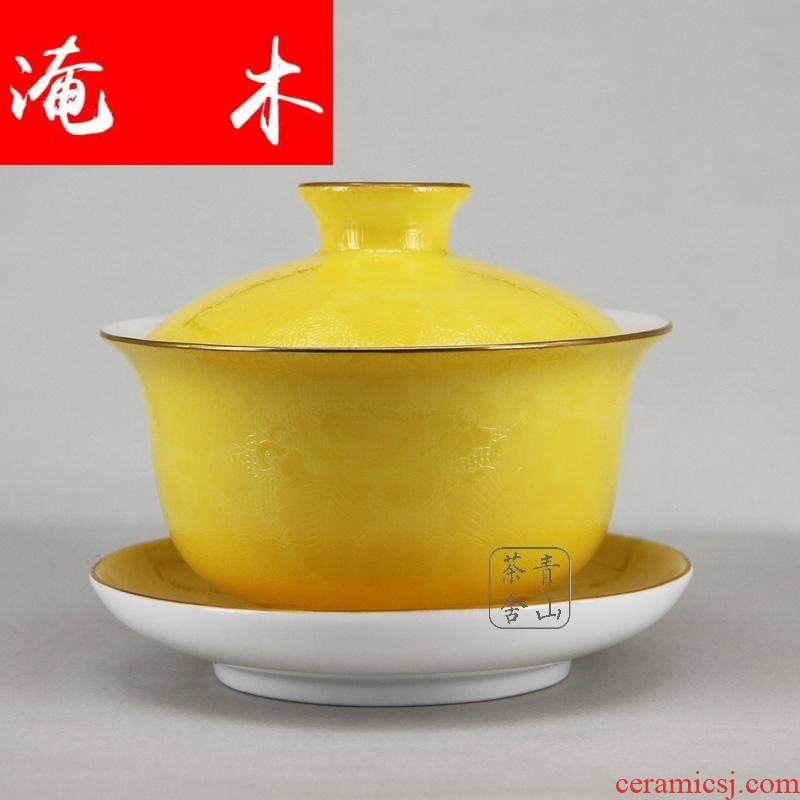 Submerged wood jingdezhen checking tea bowl paint pick flowers pastel tureen hand - made rake three cups tureen